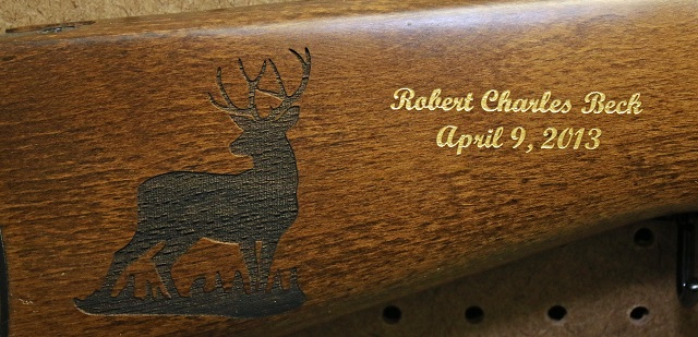 Custom Gun Stock Engraving with gold color fill